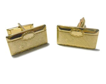 Gold cuff links, rectangle cufflinks with circle cartouche, checkerboard pattern, mid century cuffs vintage