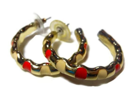 FREE SHIPPING Enamel hoop earrings, gold tone, Alternating red and white blocks of enamel