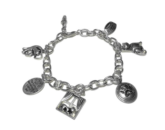 Cat charm bracelet, silver link bracelet, cat in window, purr definition, cat paw print, kitty food bowl, mouse charm, two cat charms