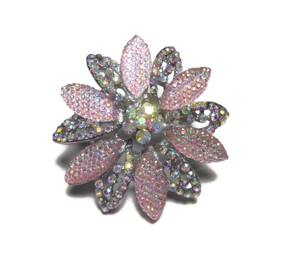 Pink AB brooch, Aurora Borealis  rhinestone crystals, floral broch, pink lucite, rhinestone faceted ABs