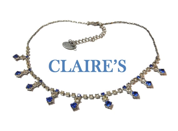 Girl's necklace, woman's choker, sapphire blue and clear rhinestones, silver tone, flower girl necklace, bride choker