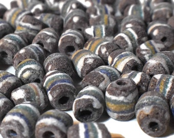 African Ghana vintage sandcast glass trade beads, 1 random group of 10, West Coast of Africa, brown white green blue mustard yellow striped