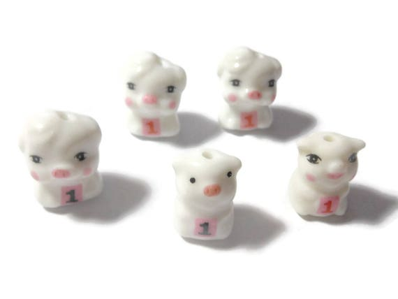 Porcelain pig bead, choice of 1 number 1, birthday bead, anniversary bead, ceramic small beads, animal Kawaii pig beads, adorable  beads
