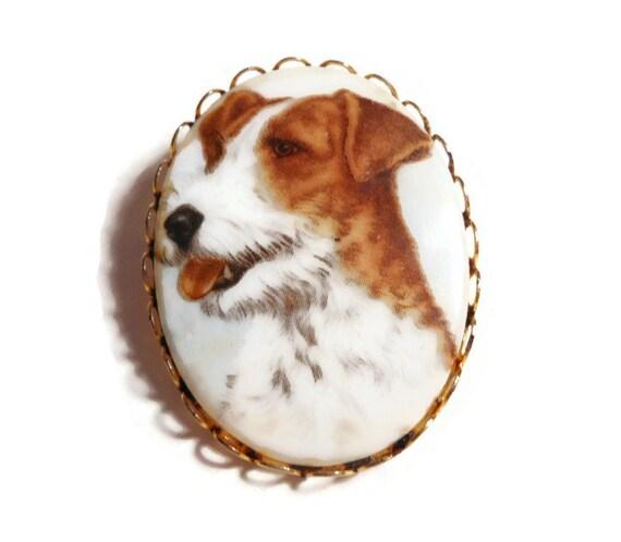 Terrier dog porcelain transfer brooch