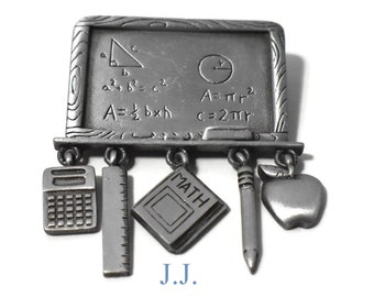 JJ pewter math chalkboard brooch pin, dangling charms - calculator, ruler, Math book, pencil & apple, math problem Jonette Jewelry, tie tack