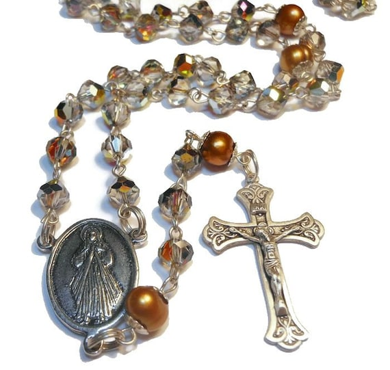 Aurora borealis rosary sterling silver 'Pearls in the Mist' with gold cultured pearls, Czech fire-polished smoke AB crystals