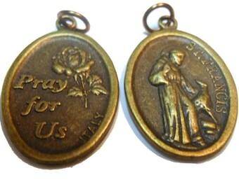 Saint Francis medal with pet Pray for Us in bronze with jump rings