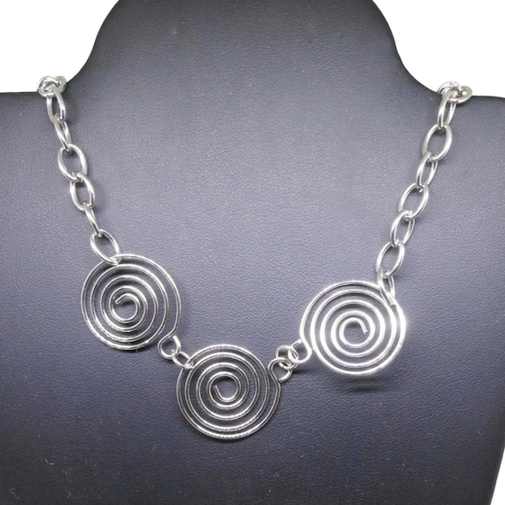 Silver swirl necklace, silver tone swirls, wire wrapped links, silver link chain,  industrial chic