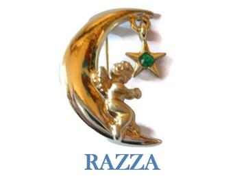 Razza angel star brooch - green May faux emerald birthstone rhinestone star hanging on moon with angel signed