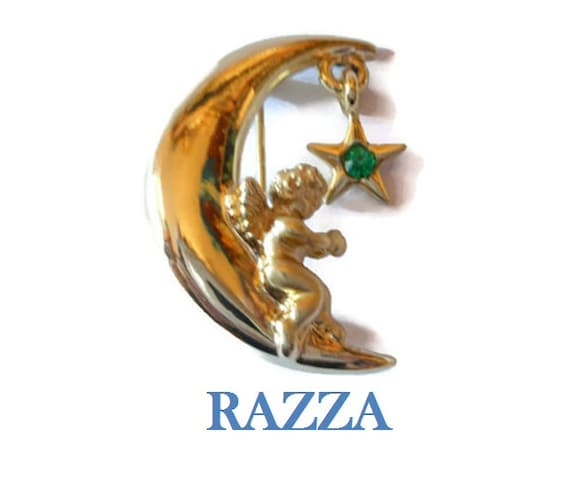 Razza angel star brooch - green May faux emerald birthstone rhinestone star hanging on moon with angel signed