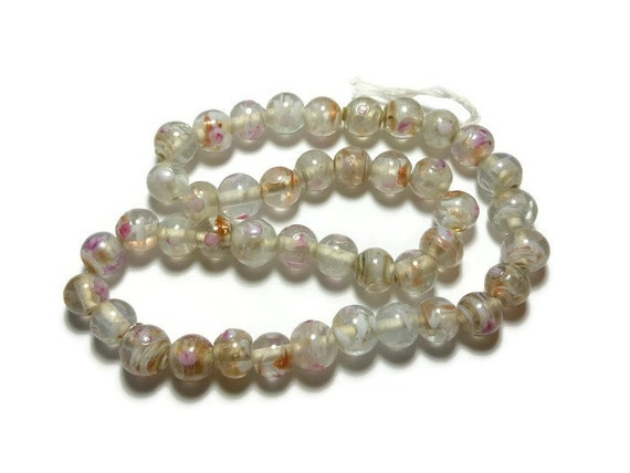 Lampwork bead, lampwork glass 10mm round bead, pink and white bumpy beads with swirls of gold glitter inside, sold per 16-inch strand