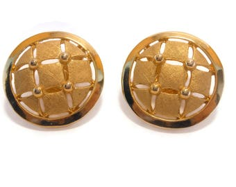 Crown Trifari earrings 1950s early 60s,  reign of Alfred Phillipe,  gold round button, quilted clip earrings with checker pattern