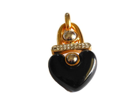 1980s heart pendant, black heart with rhinestone bar and gold and silver half ball embellishments