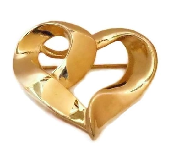 FREE SHIPPING Gold heart brooch, gold tone, open heart pin,  wavy dimensional, ribbon heart, figural brooch, shiny gold