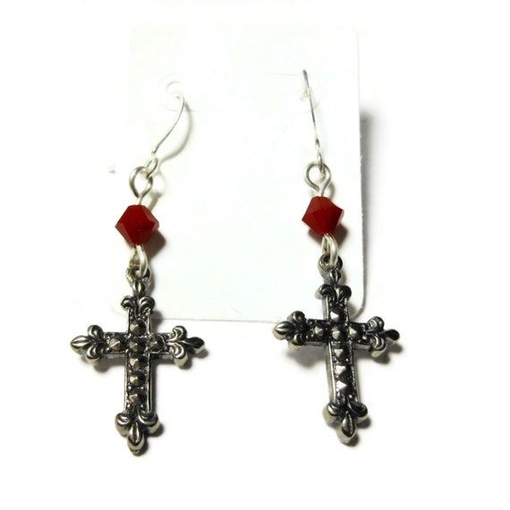 Small cross earrings, silver tone Fleury , silver plated french wires, red Swarovski crystals, faux marcasite, dangle earrings