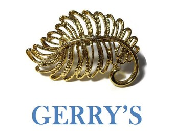 Gerry's leaf brooch pin signed Gerry's, gold tone, textured