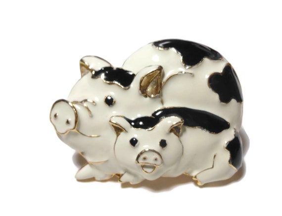Pigs brooch pin, mother and baby pig, sow and piglet, black and white enamel over gold plating, gold cloisonne type accent, hog swine