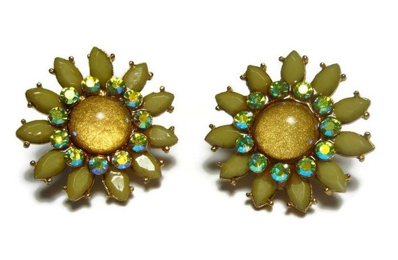 Green moonglow clip earrings, olive moonglow flower petals, aurora borealis (AB) rhinestones, golden glitter cabochon, floral