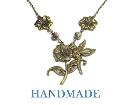 Hummingbird necklace handmade, antiqued bronze flower hummingbird, red floral cloisonne beads and antiqued bronze flower links, handmade
