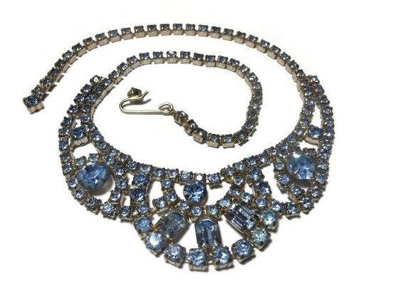 Kramer rhinestone choker baby blue rhinestone necklace choker with festoon signed Kramer of New York, silver tone