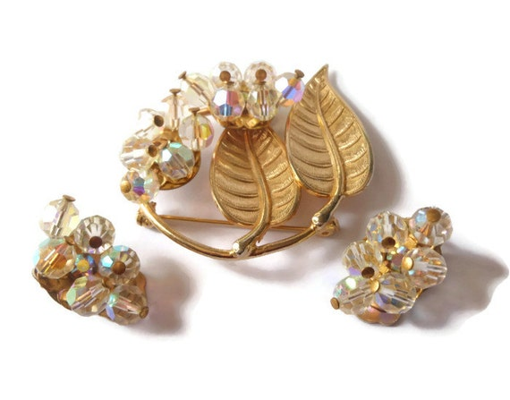Aurora borealis cluster brooch and clip earrings crystal leaves with rhinestones - elegant night wear or great for a wedding