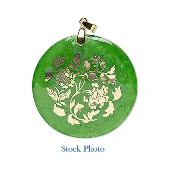 Capiz shell pendant, round dyed Capiz shell, green and gold, 49-50mm round with floral decal