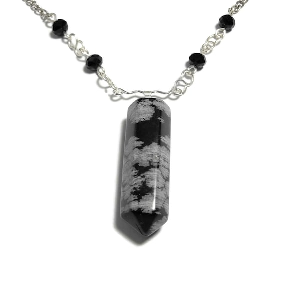 Snowflake Obsidian necklace, bullet pendant, black Swarovski crystals, infinity connectors, silver plated chain,  extender chain, gemstone.