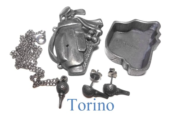 Torino golf clubs jewelry and trinket box, pewter box doubles as a brooch, tee earrings attached, tee pendant on a chain in the box