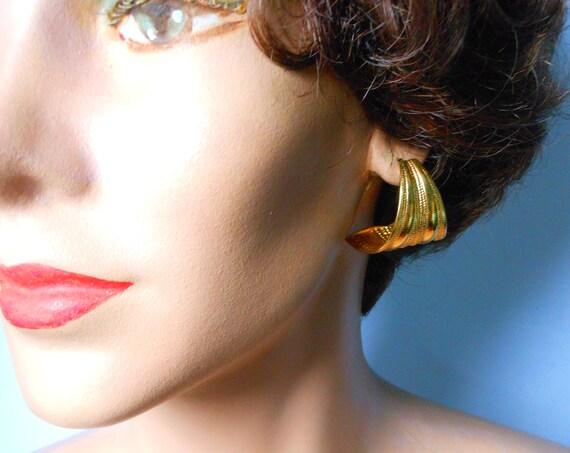 Large repousse earrings, large gold tone half hoop reverse hammered textured pierced earrings