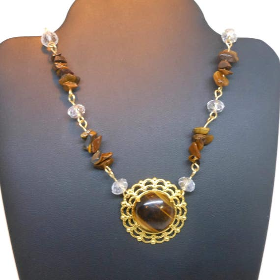 Tiger's Eye necklace, Swarovski crystals, tiger's eye cabochon ornate frame focal, gold plated wire wrapped beads findings