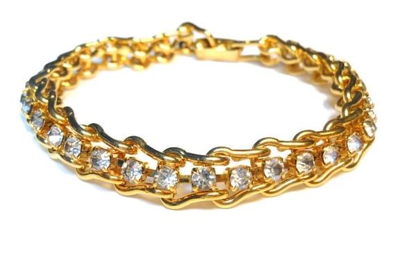 Rhinestone tennis bracelet, clear prong set rhinestone tennis ladder link bracelet, gold tone, 1980s vintage