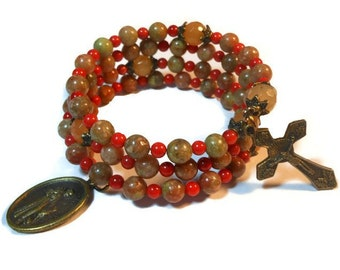 """Rosary bracelet """"Autumn leaves""""  five decade, Autumn jasper beads, red aventurine Our Father beads, bronze crucifix and medal, handmade"""