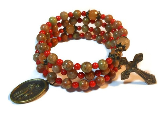 "Rosary bracelet ""Autumn leaves""  five decade, Autumn jasper beads, red aventurine Our Father beads, bronze crucifix and medal"