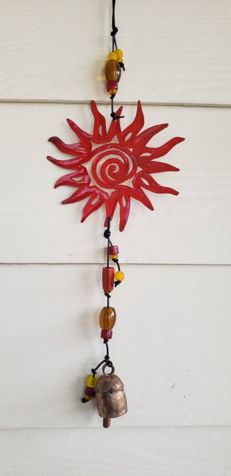 Brass Sun Swirl Hanging with Glass Beads and Noah Bell
