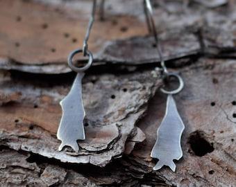BATS! Dangling Bat Earrings - Upside Down Bats -Gift for Nature Lover, Goth, Punk, Spooky Friends - Quirky Strange Odd Gift Earrings