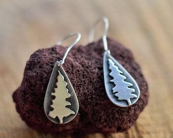 Fir Tree Earrings, Artisan Silver Tree Dangle Earrings - Sawed Silver Trees - Evergreen Earrings - Drop Earrings - Gift for Nature Lover