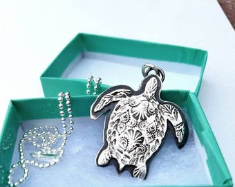 Handmade Sea Turtle Necklace, Paisley, Made to Order