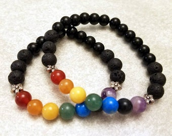 Pride Bracelet with Gemstones, Unisex, Multiple Sizes, Made to Order - With Aromatherapy Beads, Black Onyx, Flower Accent