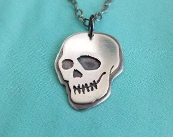 Goth Skull Pendant, Handmade Silver Skull Necklace