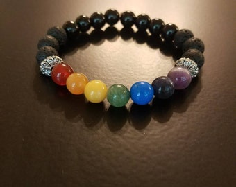 Unisex Chakra Bracelet, Multiple Sizes, Made to Order - With Aromatherapy Beads, Black Onyx, Silver Tone Accent Bead