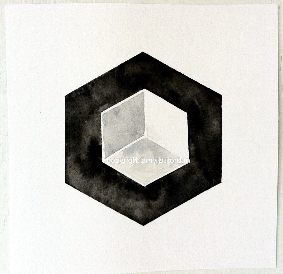 Hexagon 3D Cube geometrische Kunst geometrische Malerei   Etsy