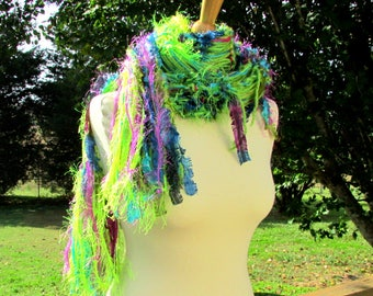 knitted womens scarves, shabby chic scarf, knit fringe scarf, elegant scarf, fiber art scarf, classy scarf, scarf gift, gifts for her