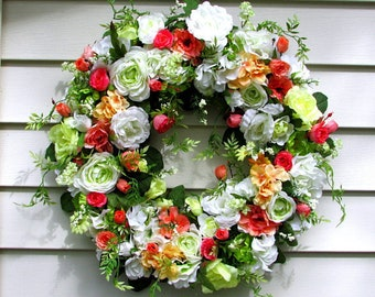 Spring floral wreath etsy spring floral wreath shabby chic wreath french country cottage elegant wreath beautiful wreaths summer wreath country home decor mightylinksfo