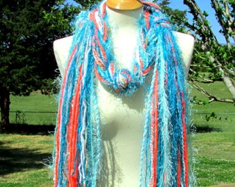 long scarf boho, Womens Scarf, fringe scarf, gifts for her, turquoise scarf, art yarn scarf, womens gifts, soft scarf, shabby chic scarf