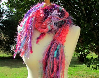 soft knit scarf, gifts for her, narrow scarf, handknit scarf, fringe scarf, drop stitch scarf, knit scarf, long knit scarf, boho scarf