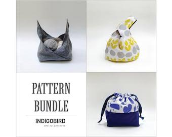 Knitting Bag, Project Bag, Knot Bag, PDF Pattern bundle, Drawstring bag, bento bag, Origami bag, Knot bag, Leah drawstring bag