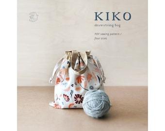 Drawstring Bag, PDF sewing pattern, Kiko drawstring bag, project bag, knitting bag, indigobirddesign, pattern