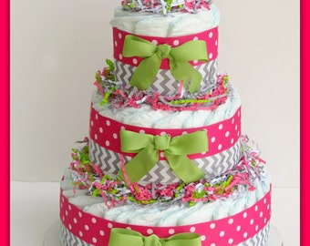 Pink And Green Diaper Cake Baby Girl Diaper Cake Carriage Etsy