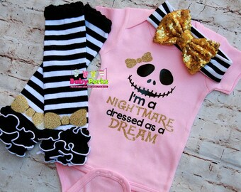 pink nightmare dressed like a dream nightmare before christmas baby girl pink bodysuit shirt with glitter gold bow