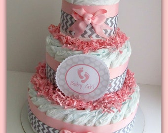Baby Girl Diaper Cake Pink And Grey Baby Shower Decorations Etsy